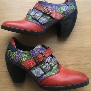 Funky Multi Colour Leather Buckle Boot